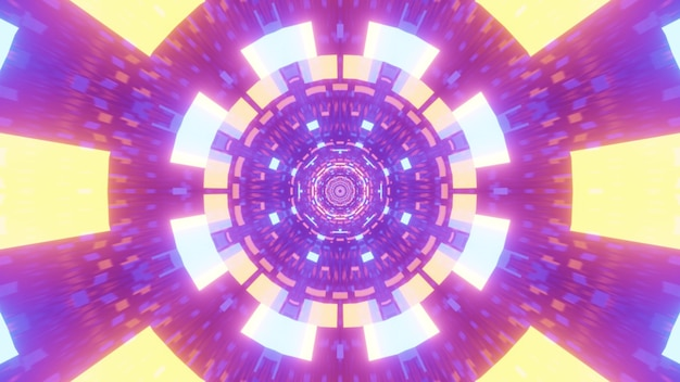 Illustration of vivid colorful neon lights shining inside symmetric futuristic tunnel with abstract geometric ornament