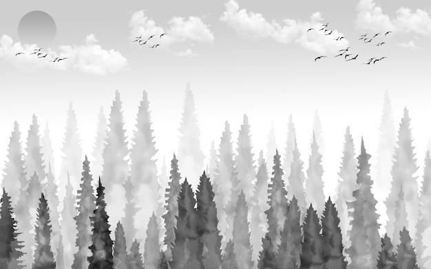 Иллюстрация обои черно-белый пейзаж. солнце небо облака птицы и дерево лес