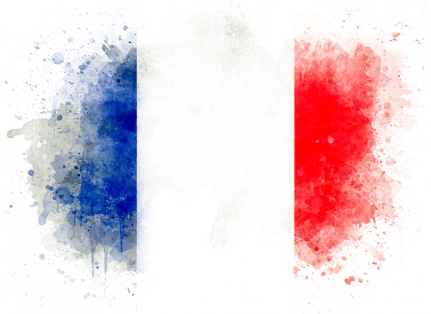 Illustration of watercolor french flag, watercolor flag of france isolated on white background