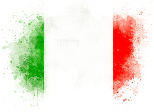 Illustration of watercolor italian flag, watercolor flag of italy isolated on white background