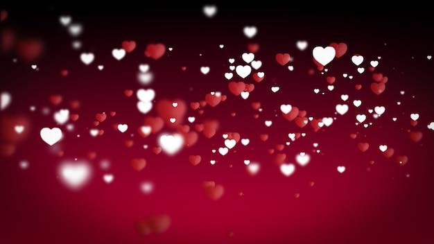 バレンタインデーのはがきのイラスト白と赤の紙の心