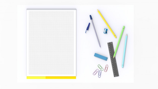 Illustration of a white desk with a white block