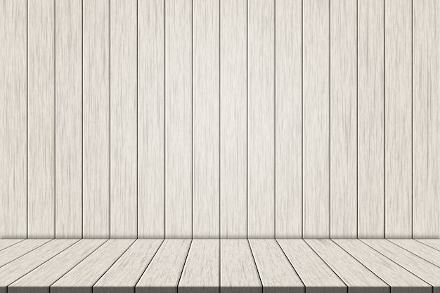 Illustration white wooden floorboards on white wood wall for montage your product
