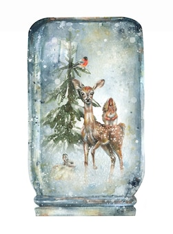 Illustration of a winter background in a snow ball  forest snow wild animals