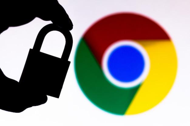 Google chromeロゴの横に南京錠付きのイラストが表示されます