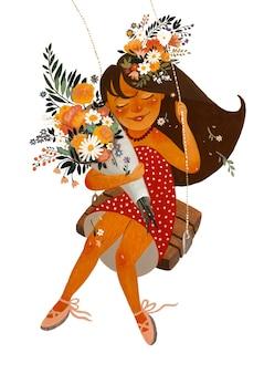 アクリル絵の具でイラスト。ブランコに花を持つ空飛ぶ少女。カラー塗装。