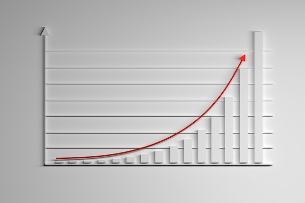 Illustration with statistics elements. growing exponential function with red arrow.
