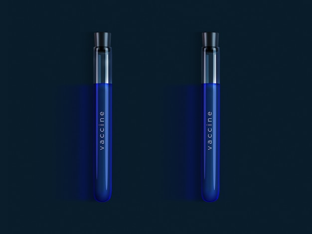 Illustrative image of flasks with a blue liquid and the inscription vaccine on dark
