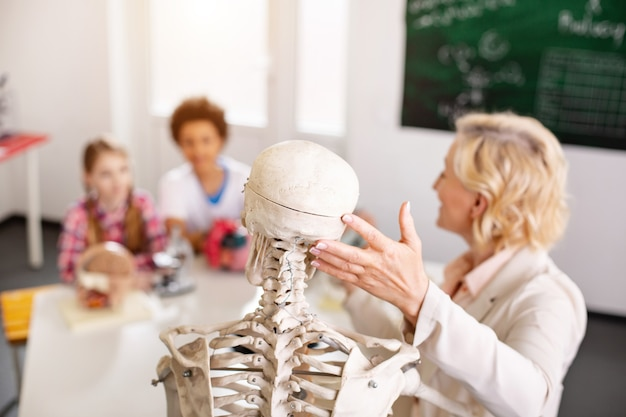 Illustrative material. selective focus of a skeleton being used for a biology lesson