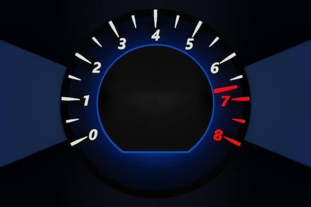 イラストは、黒い背景に白いライトと青い丸い車のタコメーターをクローズアップ