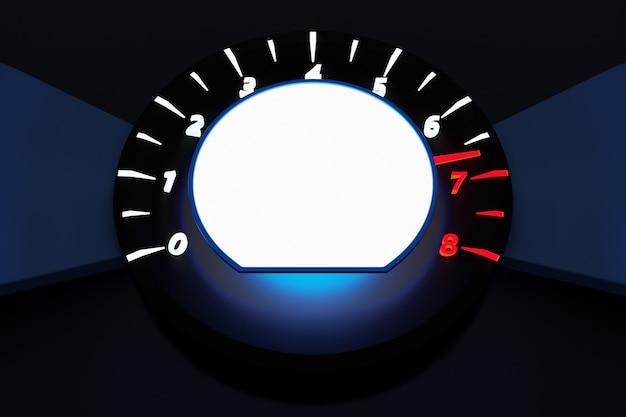 イラストは、白いライトと白い丸い内部の車のタコメーターをクローズアップ