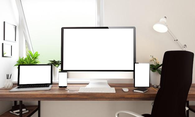 ウィンドウオフィスのデスクトップ機器、imac、macbook、ipad、iphone