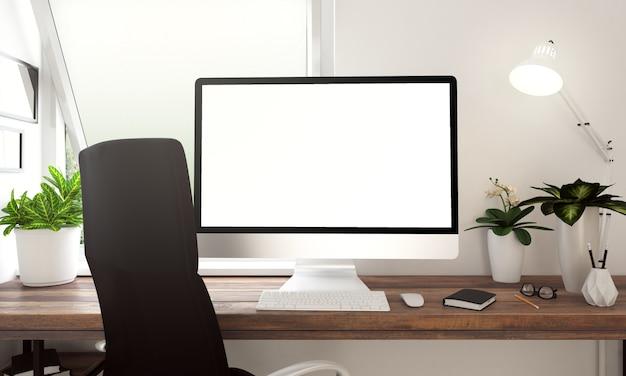 Imacコンピュータの白い画面ウインドウ