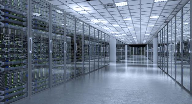 Изображение 3d представляет современной комнаты сервера базы данных.