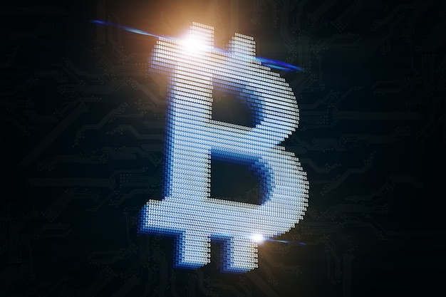 An image of a bitcoin hologram