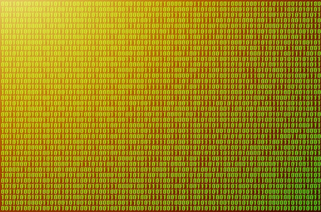Image of a blurry binary code composed of a set of green numbers on a black background.