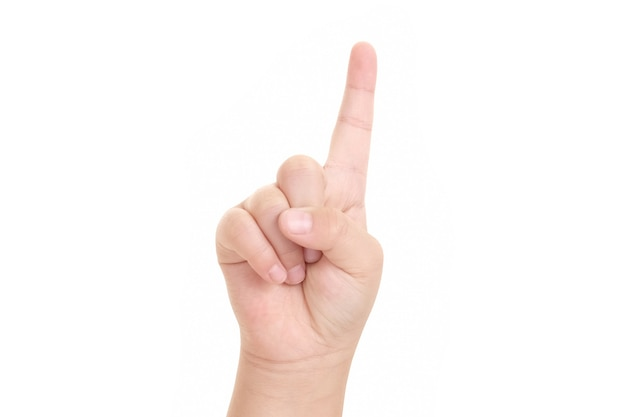 Image of boy's finger pointing  isolated on white background.