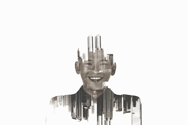 Image of a businessman standing in the city. double exposure