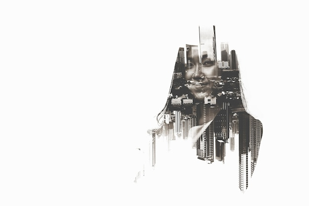 Image of a businesswoman standing in the city. double exposure
