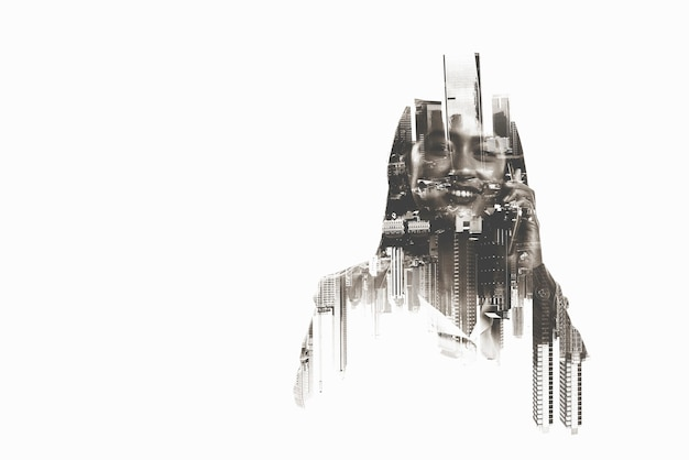 Image of a businesswoman talking on a mobile phone in the city. double exposure