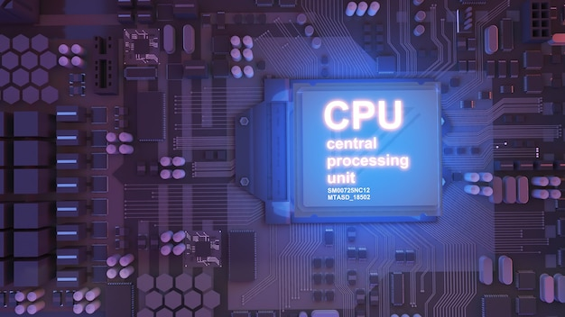 Image of the central processing unitworking processing technologyconceptual cpu on circuit board