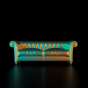 Image of a classic style sofa in gold color on a black background.