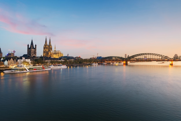 Image of cologne with cologne cathedral with rhine river and hohenzollern bridge