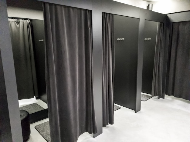Image of dressing or fitting room in modern shopping mall