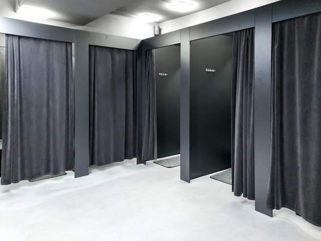 Image of empty dressing room in clothes store