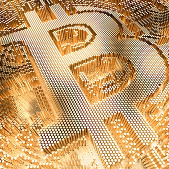 Image of a gold colored bitcoin currency symbol