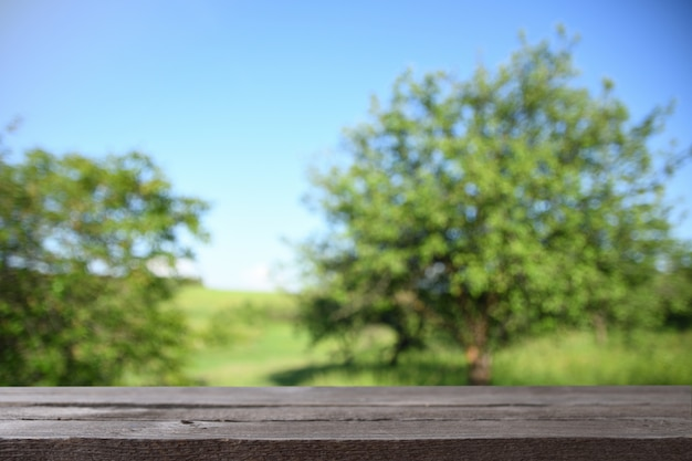 Image of grey wooden table in front of abstract blurred background of green leaves and trees
