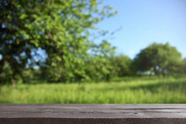 Image of grey wooden table in front of abstract blurred background of trees on a green meadow