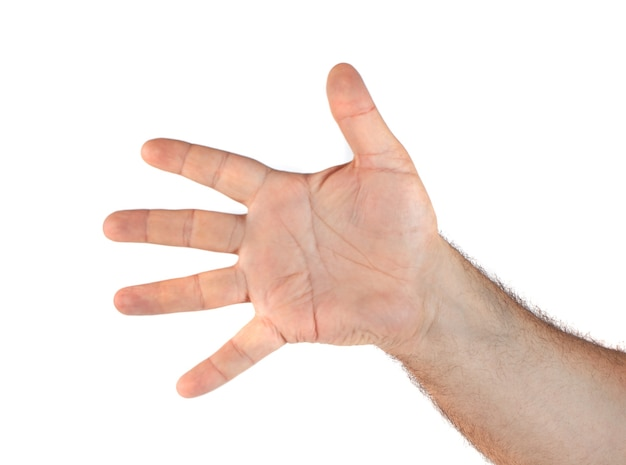 Image of hand showing five fingers gesture on white