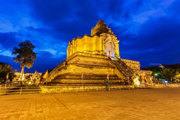 Image of landmark buddhist pagoda at wat chedi luang,chiang mai, thailand