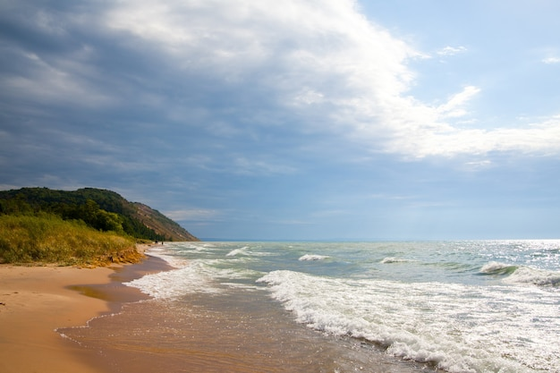 Image of landscape of a sandy beach with white foamy waves lapping up towards the grasses and mountain in the distance