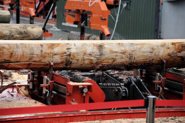 Image of machine for sawing wood at sawmill