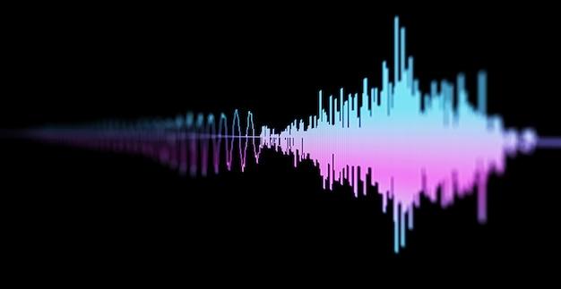 地震、株式市場、および音声オーディオ波図の画像マクロのクローズアップ。ぼかし、dof。