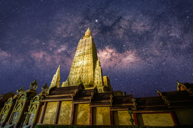 The image of the milky way taken at the temple in the south of thailand