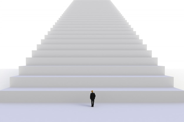 Image of miniature businessman standing in front of white stair on white wall background