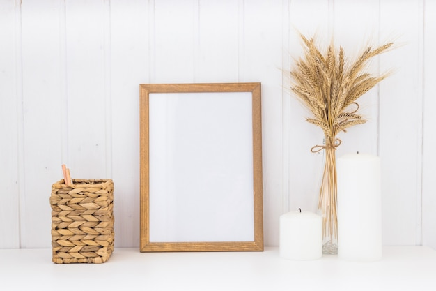 Image of mockup scene with empty wooden frame