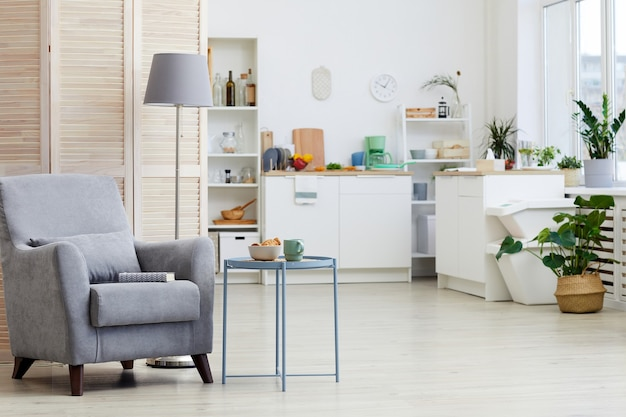 Image of modern armchair standing in the living room with white kitchen