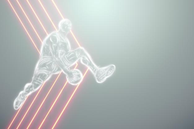 ジャンプ中のバスケットボール選手の画像。クリエイティブなコラージュ、スポーツチラシ。バスケットボールのコンセプト、スポーツ、ゲーム、健康的なライフスタイル。コピースペース、3dイラスト、3dレンダリング。