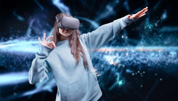 Vrメガネの女の子の画像。革新的なテクノロジー