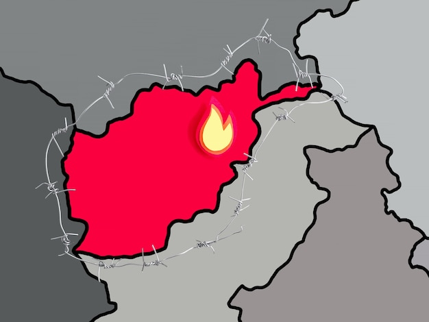 철조망으로 둘러싸인 아프가니스탄 지도 이미지 감옥 자유 보안 개념