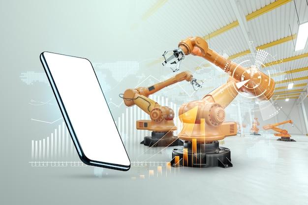 ロボットアーム、現代の工場を背景にしたスマートフォンの画像。 iot技術コンセプト、スマートファクトリー。デジタルマニュファクチャリングオペレーション。インダストリー4.0。