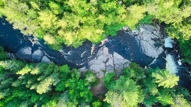 カスケードと緑豊かな森のある雄大な川を見下ろす空中写真