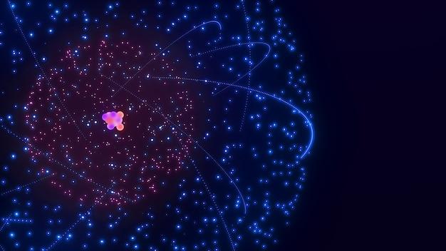 陽子、中性子、電子からなる原子構造の画像原子の科学的画像、3dレンダリング