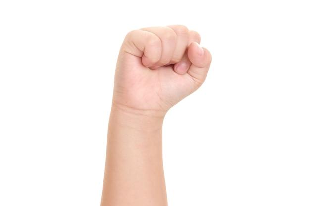 白い背景で隔離の少年の手の画像。