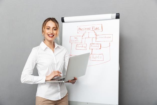 オフィスでプレゼンテーションをしながら、フリップチャートとラップトップを使用して正装でビジネスライクな女性の画像、分離