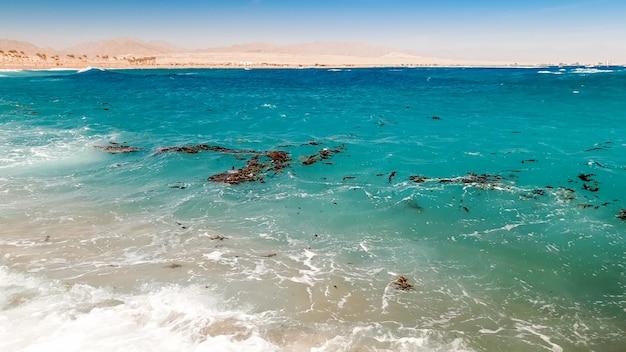 Изображение грязной морской воды с масляными пятнами, пластиком и мусором, плавающим на поверхности. понятие экологической катастрофы и загрязнения окружающей среды и природы
